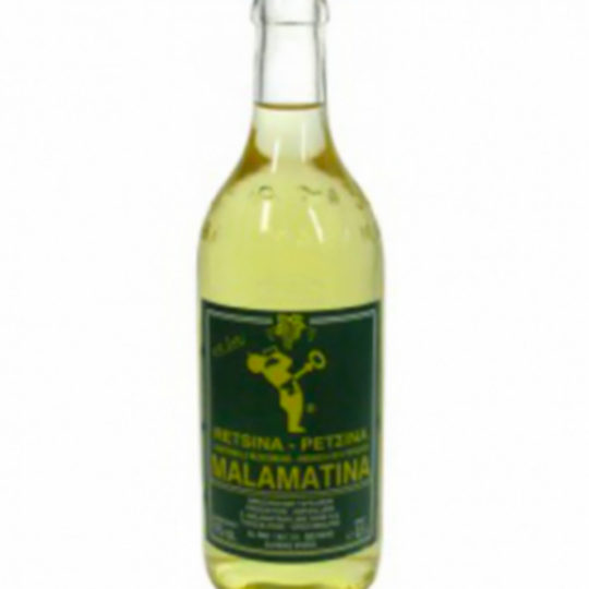 Vino resinato greco in bottiglia